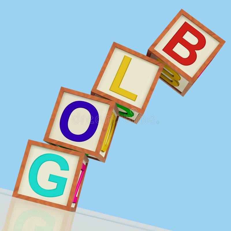Интернет и ниша блоггера выставки блоков блога иллюстрация вектора