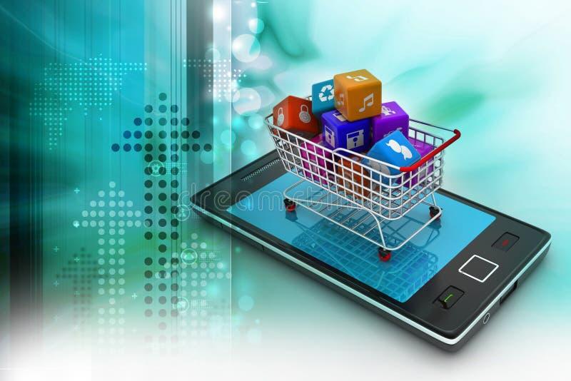Интернет и онлайн концепция покупок иллюстрация вектора