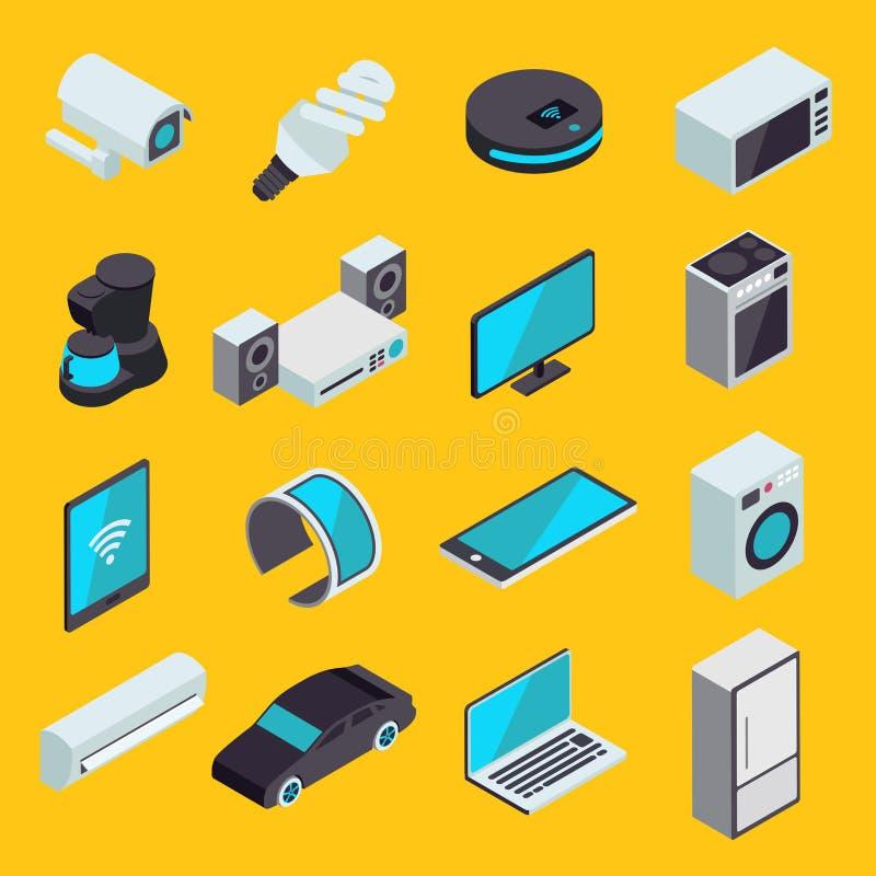 Интернет комплекта вещей современного равновеликих значков вектора IOT или иллюстрация вектора