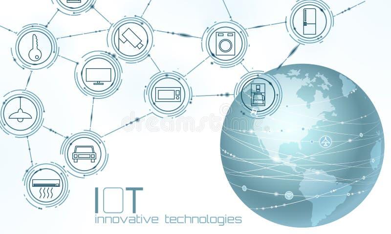 Интернет континента Америки США земли планеты концепции технологии нововведения вещей Беспроводная коммуникационная сеть IOT бесплатная иллюстрация