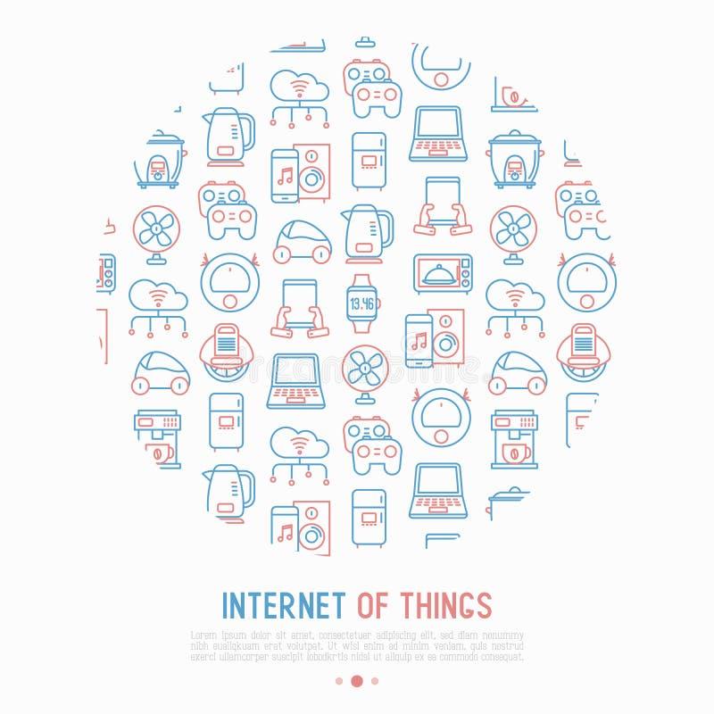 Интернет концепции вещей в круге иллюстрация штока