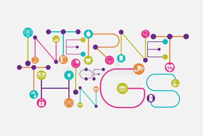 Интернет концепции вещей используя точку и соединяясь линию стиль шрифта иллюстрация вектора