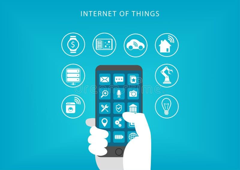 Интернет концепции вещей Иллюстрация вектора руки держа умный телефон иллюстрация штока