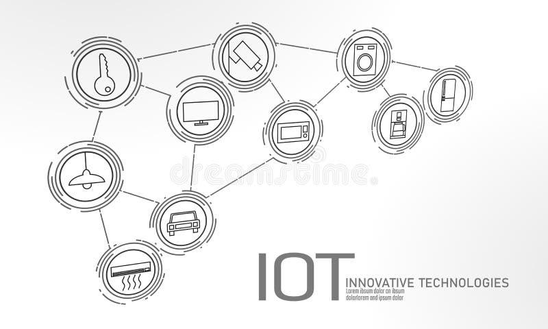 Интернет концепции технологии нововведения значка вещей ICT коммуникационной сети IOT умного города беспроводной дом иллюстрация вектора
