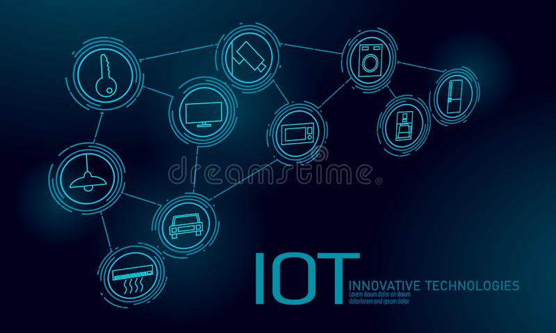 Интернет концепции технологии нововведения значка вещей ICT коммуникационной сети IOT умного города беспроводной дом иллюстрация штока