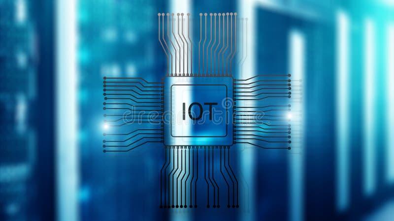 Интернет концепции IoT вещей Большая концепция технологии вычислительной цепи облака данных бесплатная иллюстрация