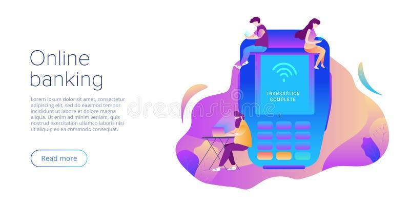Интернет креня концепция в плоском дизайне вектора Оплата цифров или онлайн обслуживание денежного перевода Концепция сделки POS  иллюстрация штока