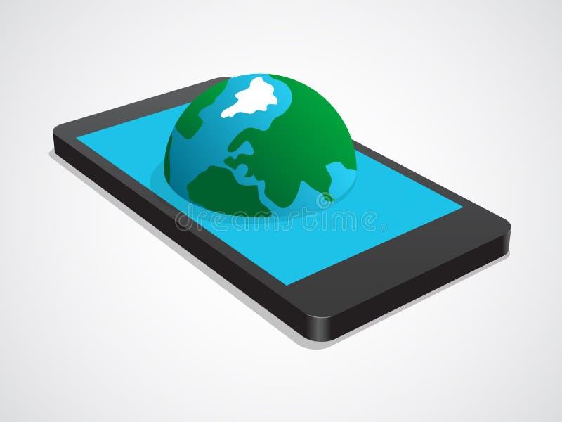 Интернет на мобильном телефоне иллюстрация штока