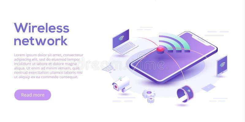Интернет плана вещей Синхронизация и connec IOT онлайн бесплатная иллюстрация