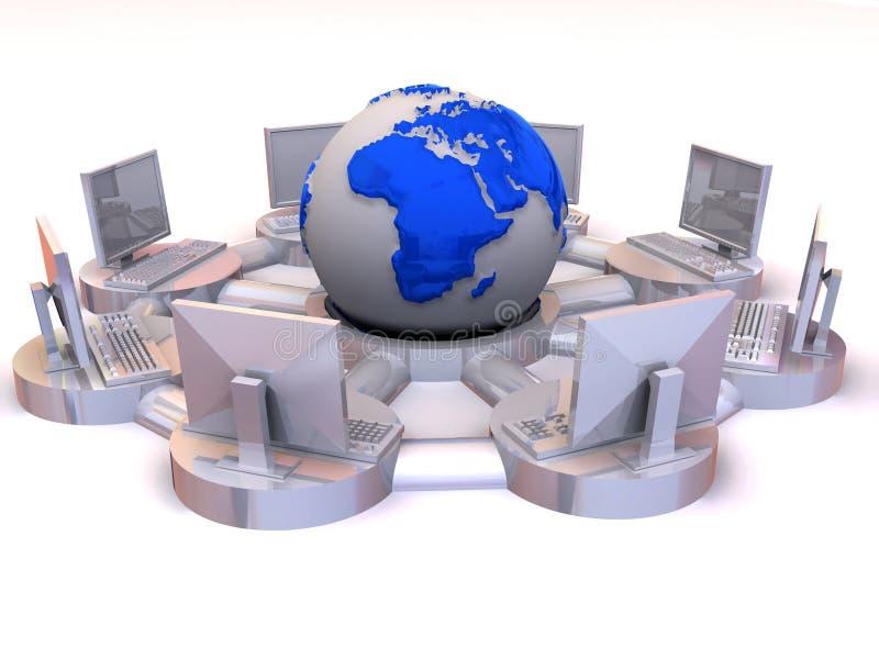 интернет принципиальной схемы 3d иллюстрация вектора
