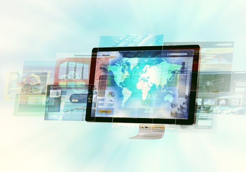 интернет принципиальной схемы цвета предпосылки голубой иллюстрация вектора