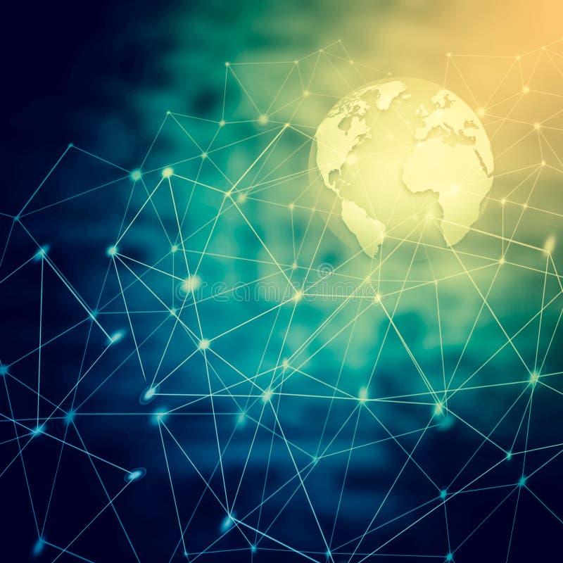 интернет самой лучшей принципиальной схемы дела гловальный Глобус, накаляя линии o иллюстрация вектора