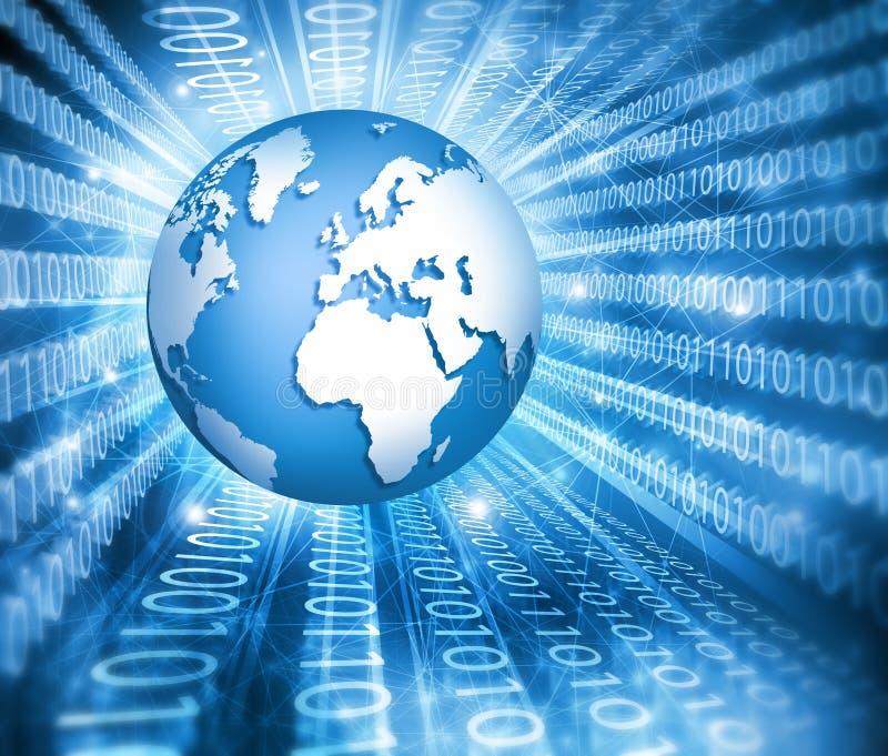интернет самой лучшей принципиальной схемы дела гловальный Глобус, накаляя линии на технологической предпосылке Электроника, Wi-F иллюстрация вектора