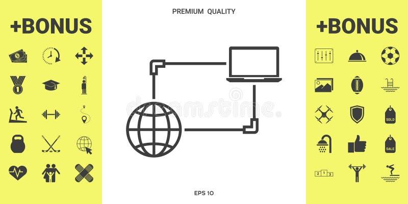 Интернет-связь, обмен данными, значок концепции перехода бесплатная иллюстрация