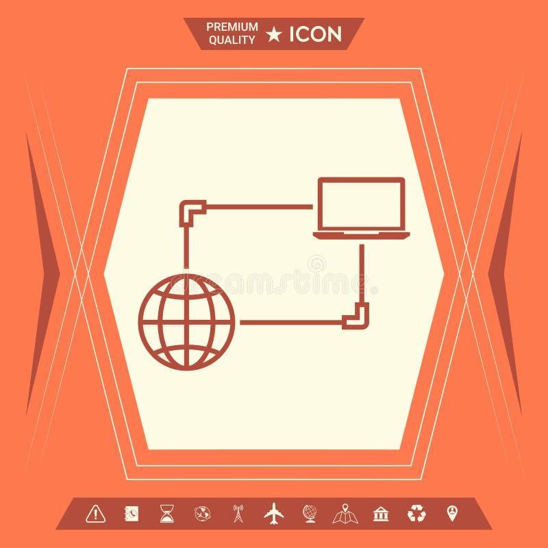 Интернет-связь, обмен данными, значок концепции перехода иллюстрация вектора