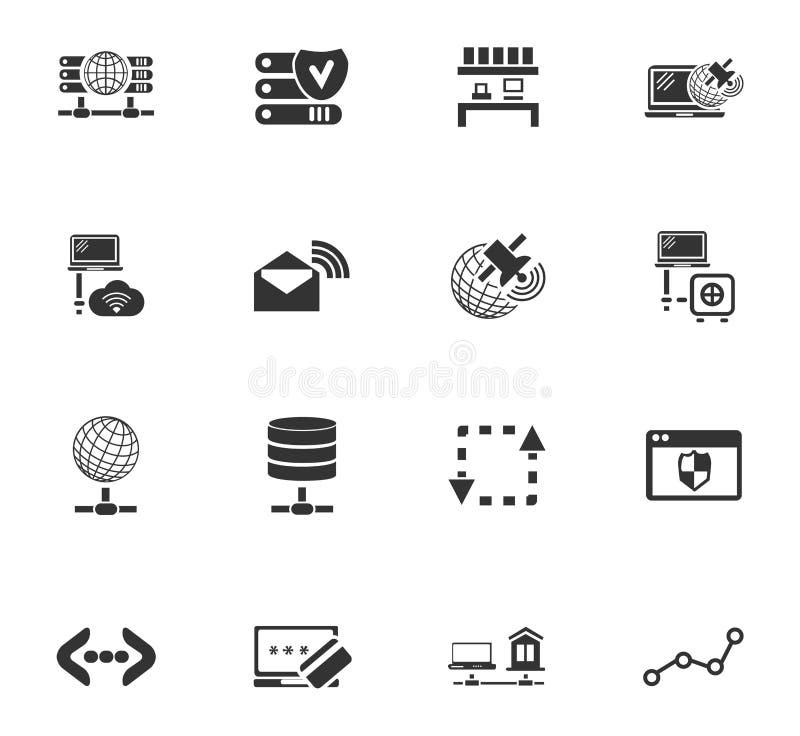 Интернет, сервер, установленные значки сети бесплатная иллюстрация