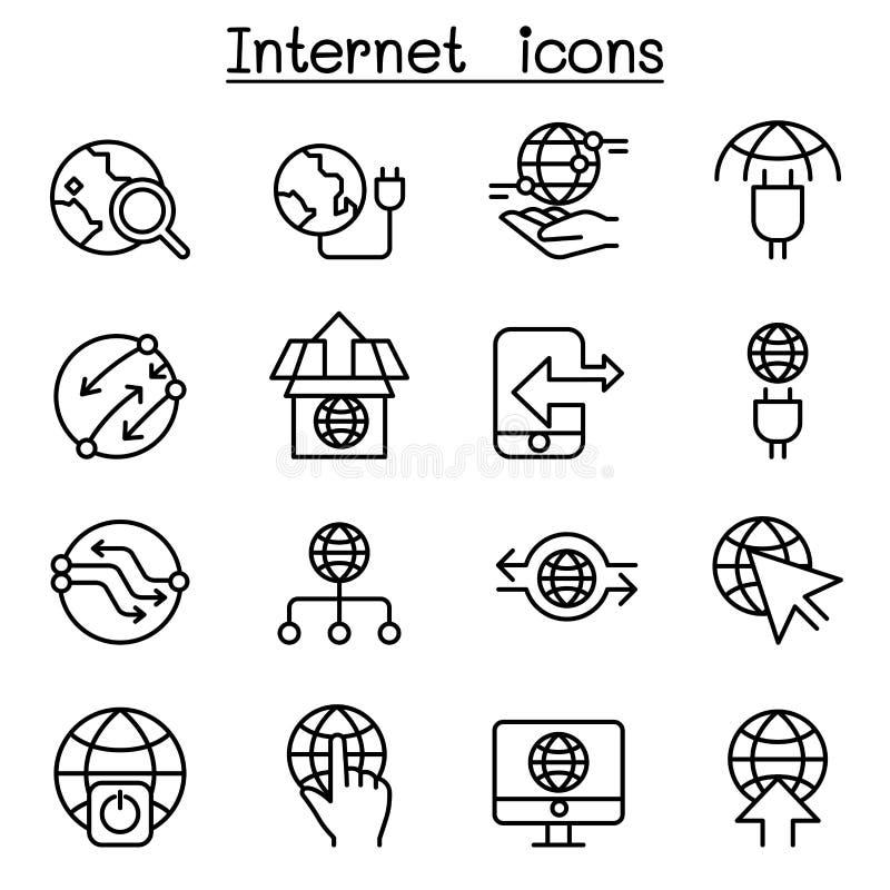 Интернет, соединение, онлайн, значок сети установил в тонкую линию styl иллюстрация вектора