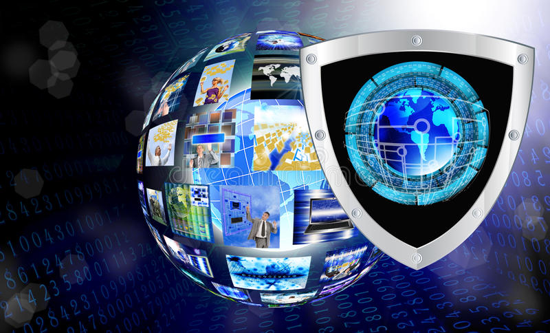 Интернет. Соединение. Cybersecurity иллюстрация штока