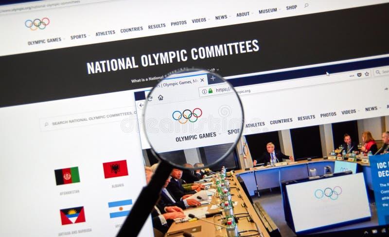Интернет-страница должностного лица Международного олимпийского комитета стоковые изображения