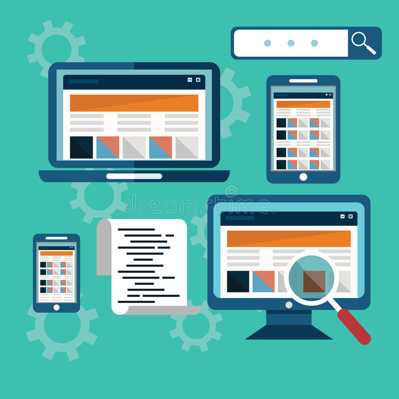 Интернет-страница, оптимизирование на различных приборах, кодирвоание места сети иллюстрация штока