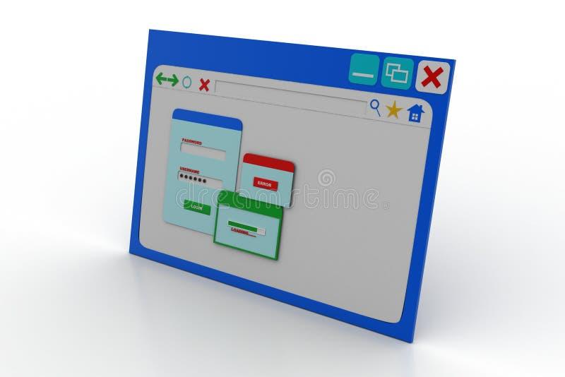 Интернет-страница показывая ошибку пароля стоковое фото rf