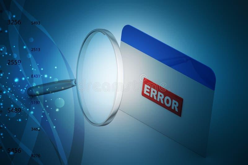 Интернет-страница показывая ошибку с увеличителем иллюстрация вектора