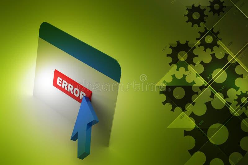 Интернет-страница показывая ошибку с указателем стрелки иллюстрация вектора