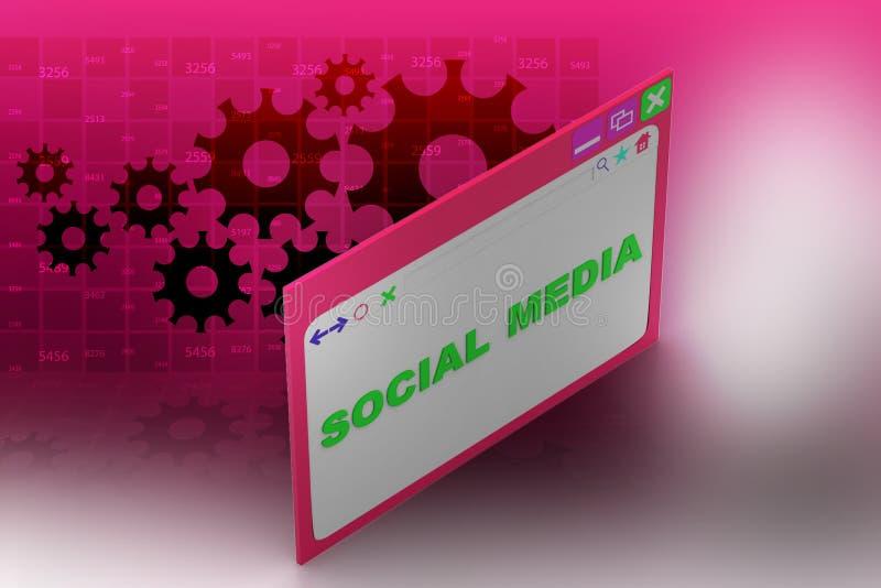Интернет-страница показывая социальную концепцию средств массовой информации иллюстрация вектора