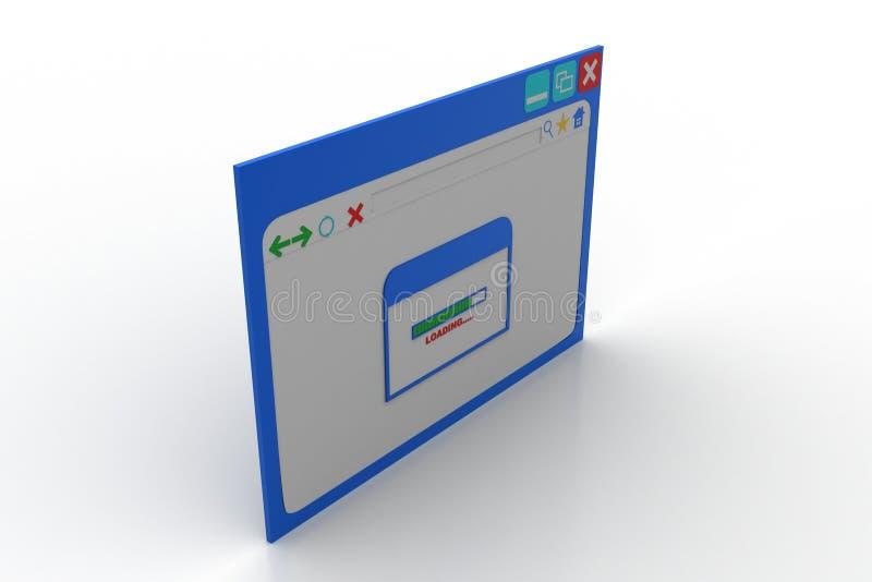 Интернет-страница показывая экран загрузки с указателем стрелки стоковое изображение