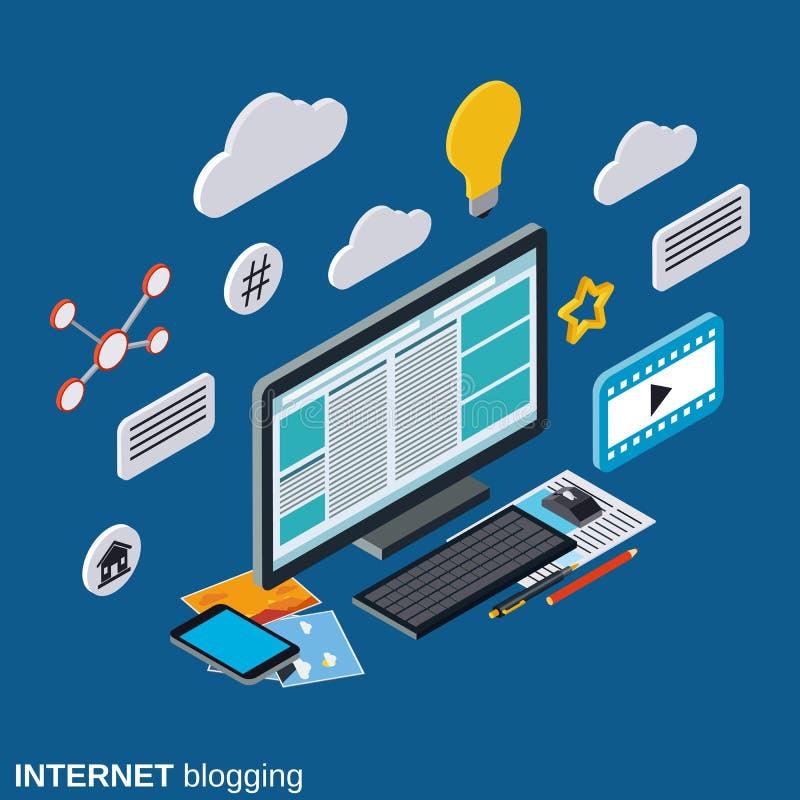 Интернет blogging, управление блога, концепция вектора издания сети бесплатная иллюстрация