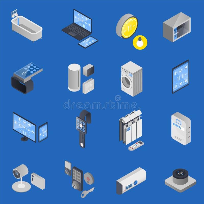 Интернет IOT комплекта значка вещей равновеликого иллюстрация вектора
