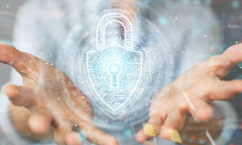 Интерфейс безопасностью padlock Womanusing цифровой для защиты перевода данных 3D иллюстрация штока