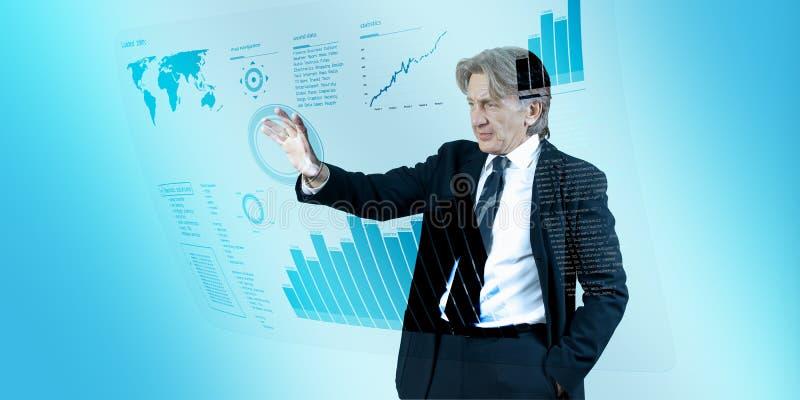 интерфейс бизнесмена будущий проводя стоковые изображения rf