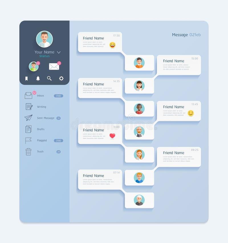 Интерфейс болтовни посыльного с идеей проекта предпосылки мобильной UI окна диалога иллюстрация вектора