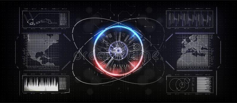 Интерфейс будущего, блок развертки отпечатка пальцев, увеличил интерфейс реальности также вектор иллюстрации притяжки corel иллюстрация вектора