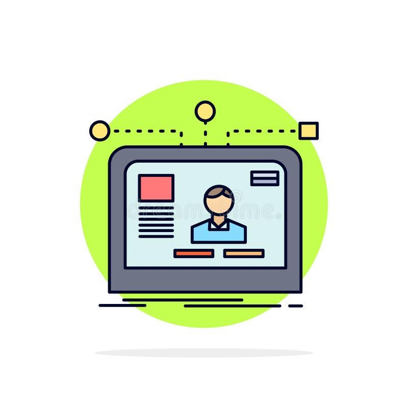 интерфейс, вебсайт, потребитель, план, вектор значка цвета дизайна плоский иллюстрация вектора
