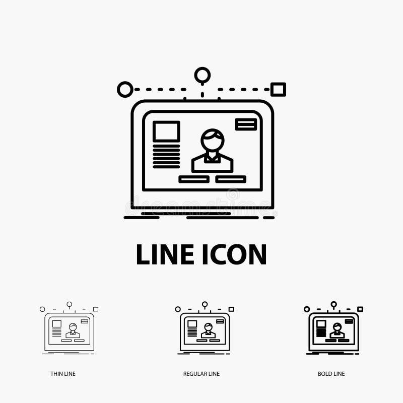 интерфейс, вебсайт, потребитель, план, значок дизайна в тонкой, регулярной и смелой линии стиле r иллюстрация штока