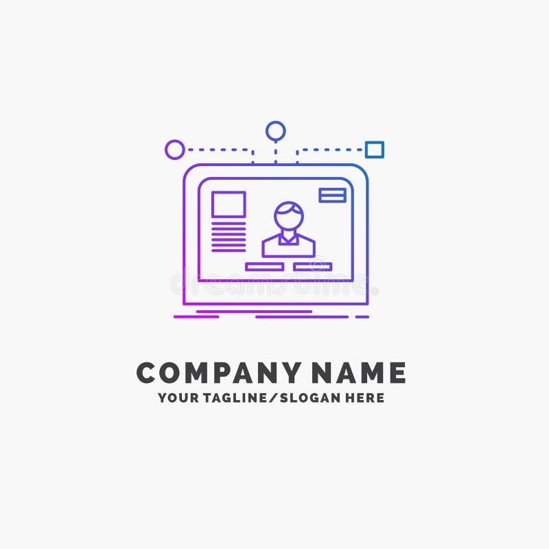 интерфейс, вебсайт, потребитель, план, шаблон логотипа дела дизайна пурпурный r иллюстрация вектора