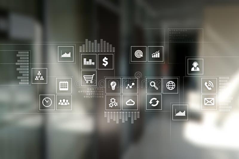 Интерфейс виртуального экрана с значками применений абрикосы Планирование стратегии Концепция технологии интернета иллюстрация штока