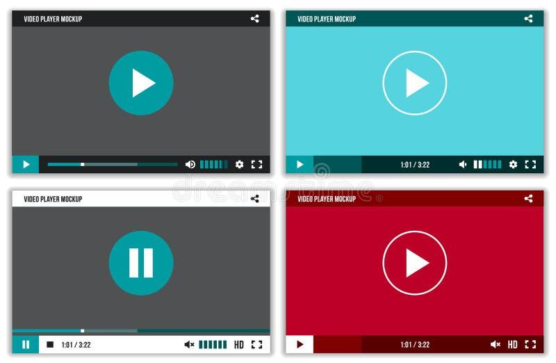 Интерфейс видео-плейер для сети и передвижных apps Шаблон ui модель-макета вектора иллюстрация вектора