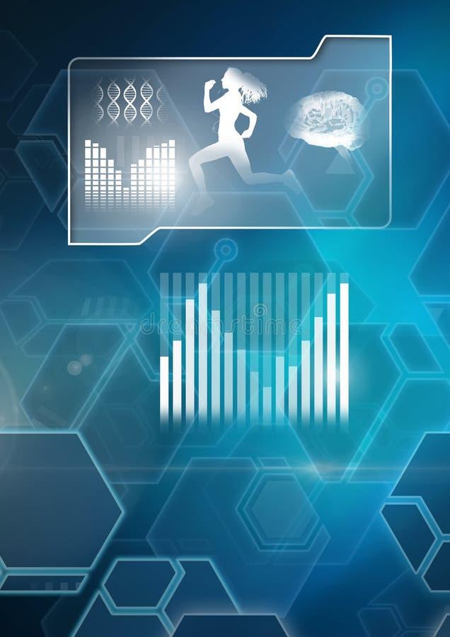 Интерфейс здоровий человека и фитнеса и предпосылка науки технологии иллюстрация штока