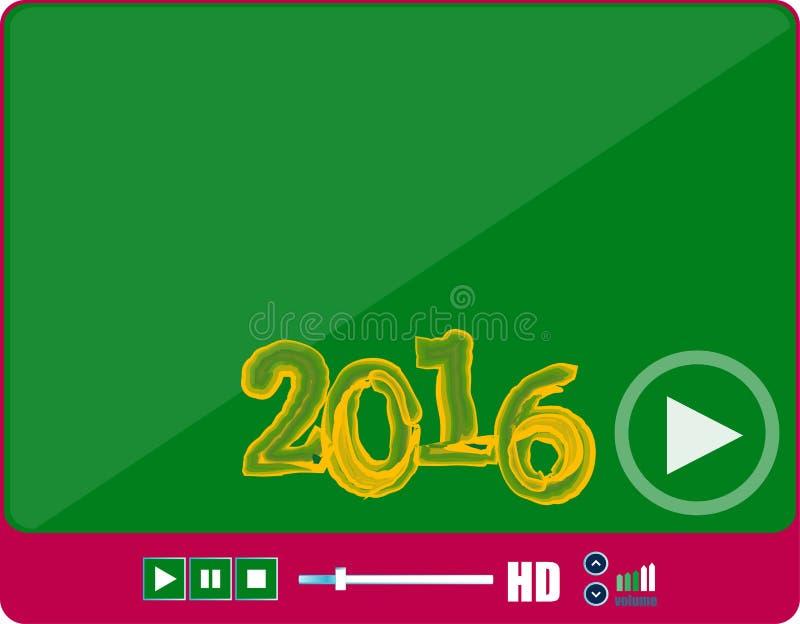 Интерфейс медиа-проигрывателя, игрок сети на белизне с знаком 2016, значке праздника иллюстрация штока
