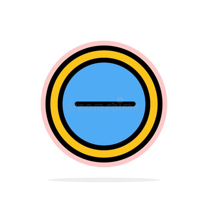 Интерфейс, минус, значок цвета предпосылки круга конспекта потребителя плоский иллюстрация вектора