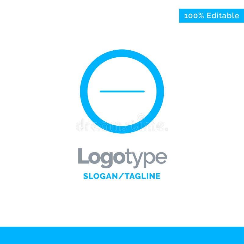 Интерфейс, минус, шаблон голубого логотипа пользователя Место для метки иллюстрация штока