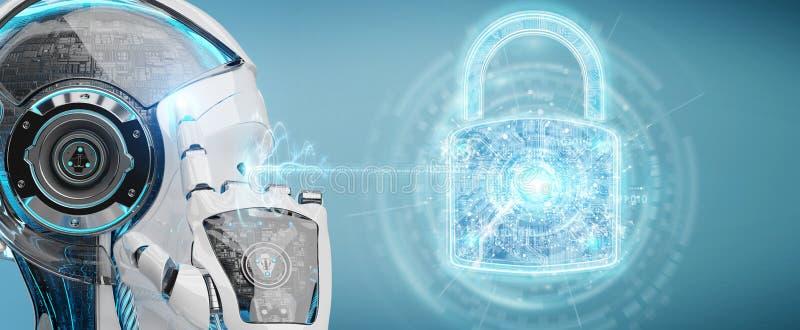 Интерфейс обеспечения безопасности сети используемый переводом робота 3D бесплатная иллюстрация