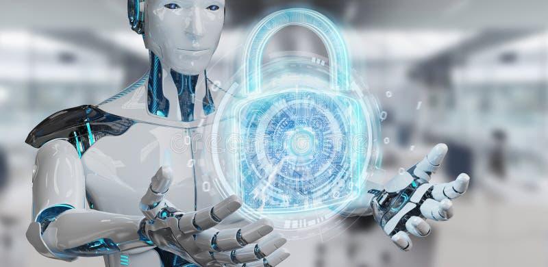 Интерфейс обеспечения безопасности сети используемый переводом робота 3D иллюстрация штока