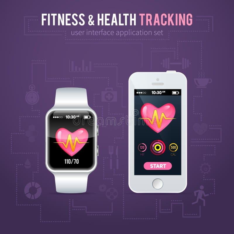 Интерфейс отслежывателя фитнеса здоровья для умных вахты и телефона иллюстрация штока