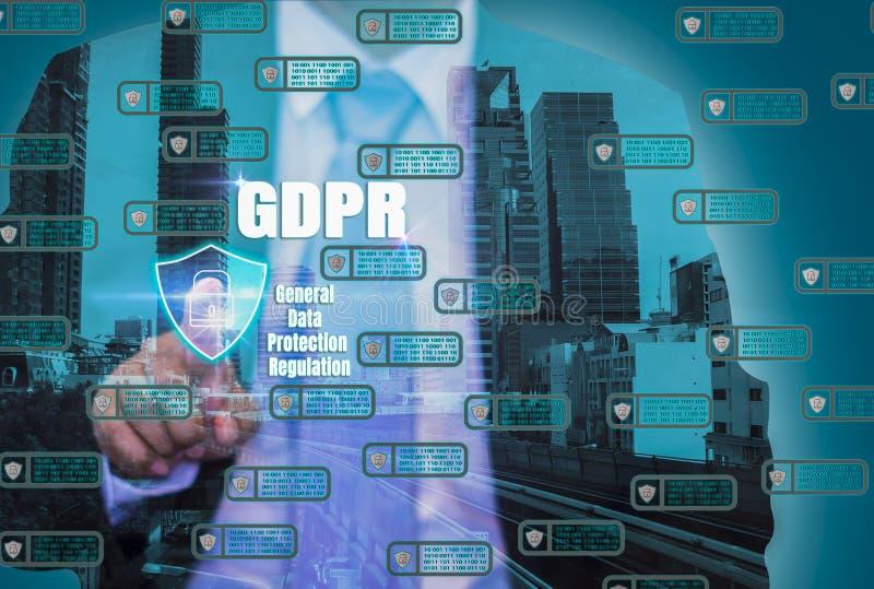 Интерфейс пальца бизнесменов двойной экспозиции Ключевой замок Networkin стоковое изображение rf