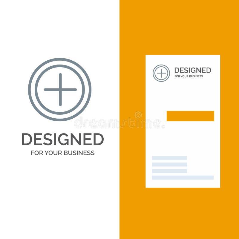 Интерфейс, положительная величина, дизайн логотипа потребителя серые и шаблон визитной карточки иллюстрация штока