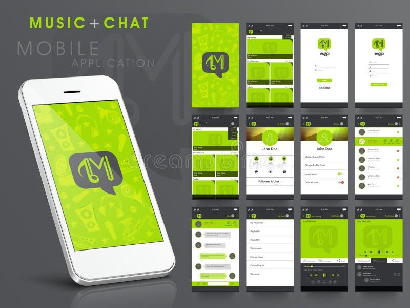 Интерфейс пользователя интернета музыки и болтовни для Smartphone иллюстрация штока